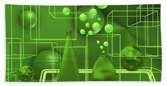 Beach Towel featuring the digital art Green Still Life With Freen Bubbles by Alberto RuiZ