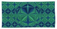 Green Symmetrical Pattern, Kaleidoscope Beach Towel