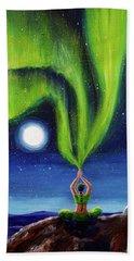 Green Tara Creating The Aurora Borealis Beach Sheet by Laura Iverson