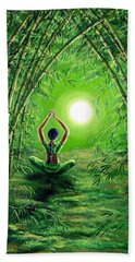 Green Tara In The Hall Of Bamboo Beach Sheet by Laura Iverson