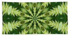 Green Thistle Medallion Beach Towel by Shirley Moravec