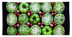 Green Tomato Slice Pattern Beach Towel