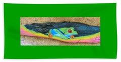 Green Tree Frog Beach Towel by Ann Michelle Swadener