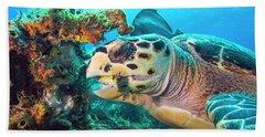 Green Turtle Dining Beach Towel
