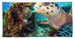 Green Turtle Profile Beach Towel