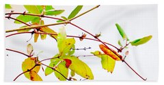 Green Twigs And Leaves Beach Towel