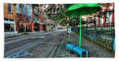 Green Umbrella Bus Stop Beach Towel