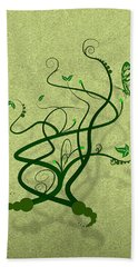 Green Vine And Butterfly Beach Towel