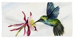 Green Violet-ear Hummingbird Beach Sheet by Sam Sidders