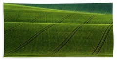 Beach Towel featuring the photograph Green Waves Of Rolling Hills by Jenny Rainbow