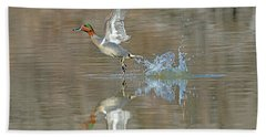 Green-winged Teal Duck Beach Towel by Tam Ryan