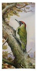 Green Woodpecker Beach Towel by Carl Donner