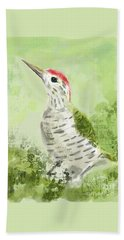 Green Woodpecker Beach Towel