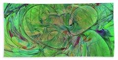 Beach Towel featuring the digital art Green World Abstract by Deborah Benoit