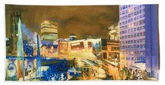 Greengate, Salford, Manchester At Night Beach Towel