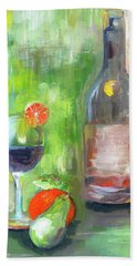 Greensih Gold Star Wine And Orange Painting By Lisa Kaiser Beach Towel