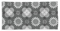 Grey Circles And Flowers Pattern Beach Towel