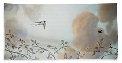 Grey Cloudy Flight By Dove Beach Towel