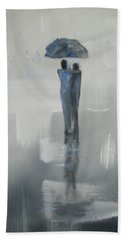 Beach Towel featuring the painting Grey Day Romance by Raymond Doward