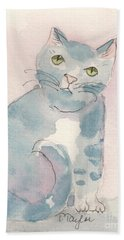 Beach Towel featuring the painting Grey Tabby by Terry Taylor