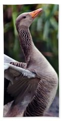 Greylag Goose Poetry Beach Towel