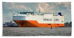 Beach Towel featuring the photograph Grimaldi Lines Grande Halifax 9784051 At Curtis Bay by Bill Swartwout Fine Art Photography