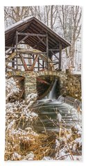 Grist Mill In Fresh Snow Beach Towel