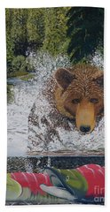 Grizzly Chase Beach Towel