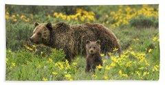 Grizzlies In The Wildflowers Beach Towel