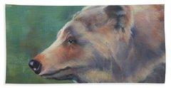 Grizzly Bear Portrait Beach Sheet