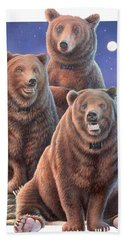 Grizzly Bears In Starry Night Beach Towel