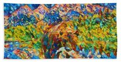 Beach Towel featuring the painting Grizzly Catch In The Tetons by Dan Sproul