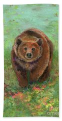 Grizzly In The Meadow Beach Sheet