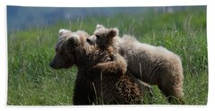 Grizzly  Mother And A Cub In Katmai National Park Beach Sheet