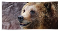 Grizzly Smile Beach Sheet by Elaine Malott