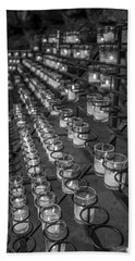 Grotto Of Our Lady Of Lourdes Candles Black And White  Beach Sheet