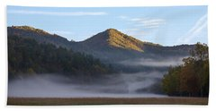 Beach Towel featuring the photograph Ground Fog In Cataloochee Valley - October 12 2016 by D K Wall