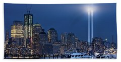 Ground Zero Tribute Lights And The Freedom Tower Beach Towel