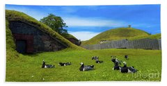 Group Of Birds Resting In The Bright Green Grass. Beach Towel