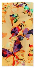 Group Of Butterflies With Colorful Wings Beach Towel