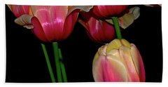 Grouping Ofpink And Yellow Tulips Beach Sheet