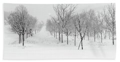 Grove Of Trees In A Snow Storm Beach Towel