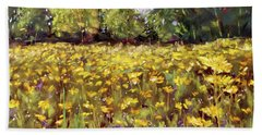 Growing Wild - Wildflower Landscape Beach Sheet by Barry Jones