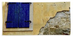 Groznjan Istrian Hill Town Stonework And Blue Shutters  - Istria, Croatia Beach Towel