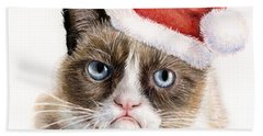 Grumpy Cat As Santa Beach Towel