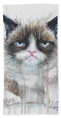 Grumpy Cat Watercolor Painting  Beach Towel
