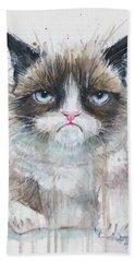 Grumpy Cat Watercolor Painting  Beach Towel