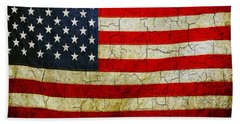 Grunge American Flag  Beach Towel