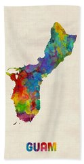 Guam Watercolor Map Beach Towel