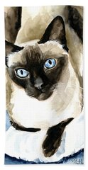 Guardian Angel - Siamese Cat Portrait Beach Towel
